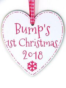 bceb4d782d1bc Bump's First Christmas 2018 Plaque - Pink - Bump 1st Xmas Tree ...