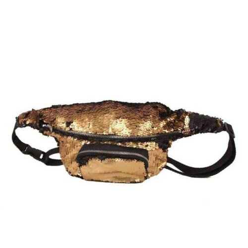 Reversible Sequin Bum Bag Gold//Black Glitter Festival Holiday Fanny Pack
