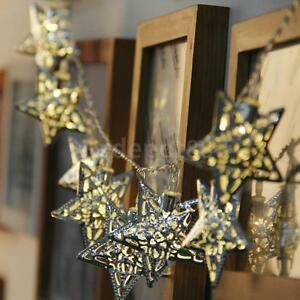 Metal Star Fairy String Lights 10 Warm White LED Indoor ...