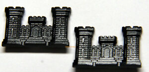 TWO-US-ARMY-CORPS-OF-ENGINEERS-BLACK-METAL-COLLAR-HAT-PIN-AIR-FORCE-USA-CASTLE