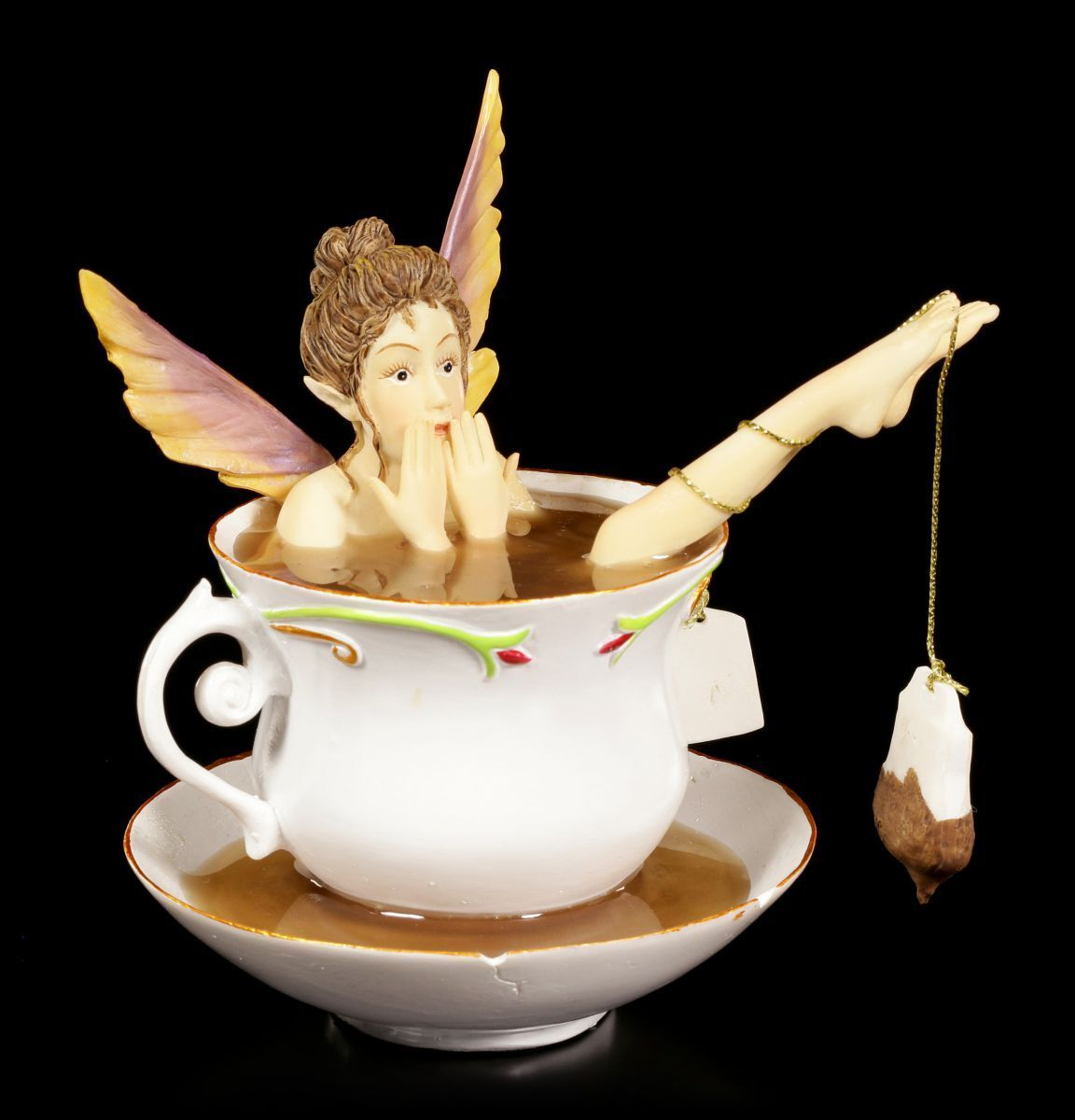 Elf in Cup Figurine - Tea Bath - Fairy Statue Rene Biertempfel Fantasy