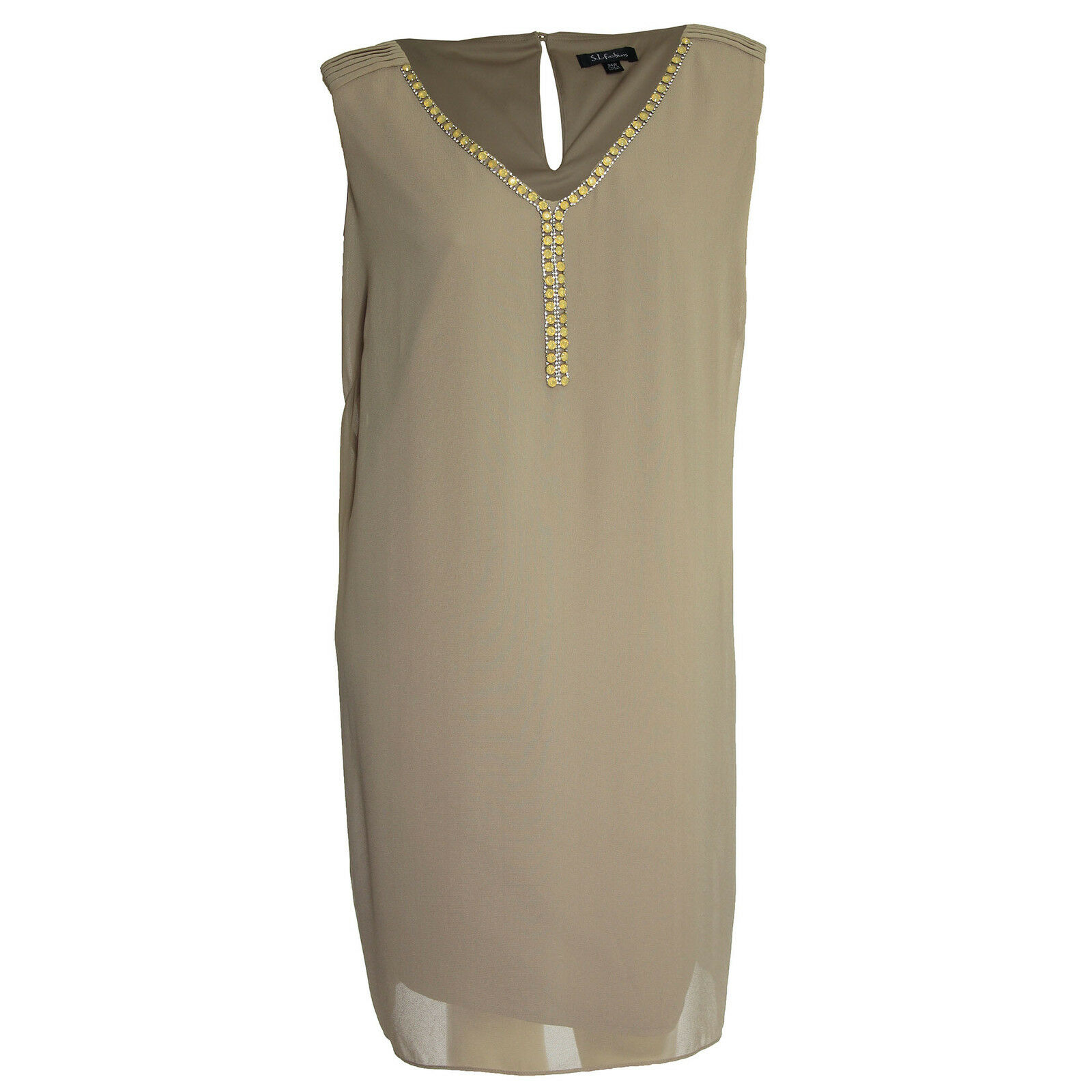 SL Fashions 24w Beige Sleeveless Embellished Shift Dress NWT FREE SHIP Plus Size