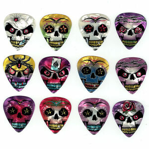 12-Pack-SKULLS-Tattoo-Barbed-Wire-Bullet-CRAZY-SKULL-Medium-Guitar-Picks