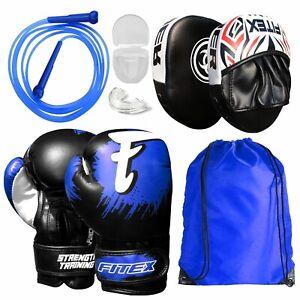 Gym Training Boxing Gloves and Focus Pads Set Hook /& Jabs Mitts Drawstring Bag