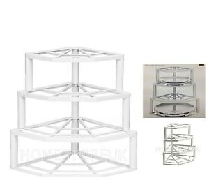 Image is loading 4-TIER-CORNER-PLATE-STAND-WHITE-PLASTIC-STACKER-  sc 1 st  eBay & 4 TIER CORNER PLATE STAND WHITE PLASTIC STACKER HOLDER STORAGE RACK ...