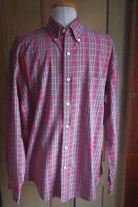 Men-039-s-J-Crew-Plaid-Shirt-M-EUC-Red-100-Cotton-Perfect-Button-Down