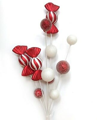 Red White Peppermint Candy Christmas Pick Tree Wreath Decor Ebay