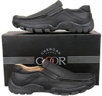Mens New Black Leather Lined Casual Moccasin Style Shoes Size 6 7 8 9 10 11 12