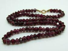 Antique Victorian/Edwardian Bohemian Garnet Faceted Bead Necklace 9ct Gold Clasp
