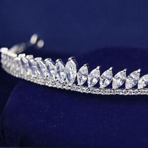 Full-AAAAA-CZ-Cubic-Zirconia-Wedding-Bridal-Party-Pageant-Prom-Tiara-13cm-Wide