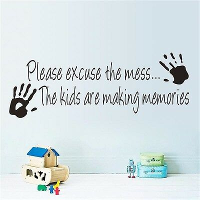 Playroom Kids making Memories PVC Quote Wall Sticker Wall Decor Letters Decal