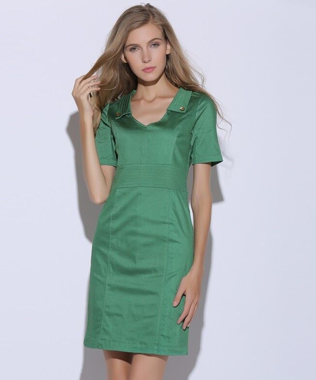 Edith and Ella Vintage Emerald Green Dress with Leopard Lining - Medium M