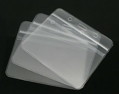 10x ID Badge Card Plastic Pocket Holder Pouchs 98x86mm