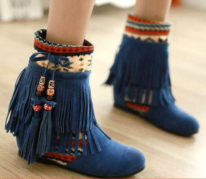 New Womens Boho Style Tassels Hidden Wedge Faux Suede Ankle Short Boots Casual