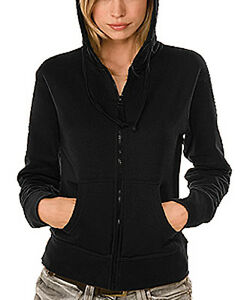 Zipper-Jacke-Kapuzensweater-Damen-Frauen-Hanes-Jacket-schwarz-black-S-Top-Quali