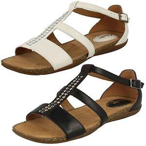 Clarks-Mujer-Cuero-Detalle-Pedreria-Hebilla-Sandalias-de-Verano-Otono-Fresh