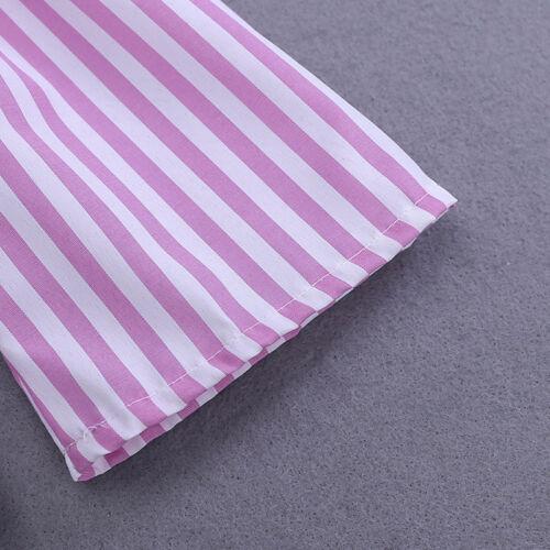 Baby Kids Girls Off-shoulder Shirt T-shirt Tops Casual Stripe Pants Clothes