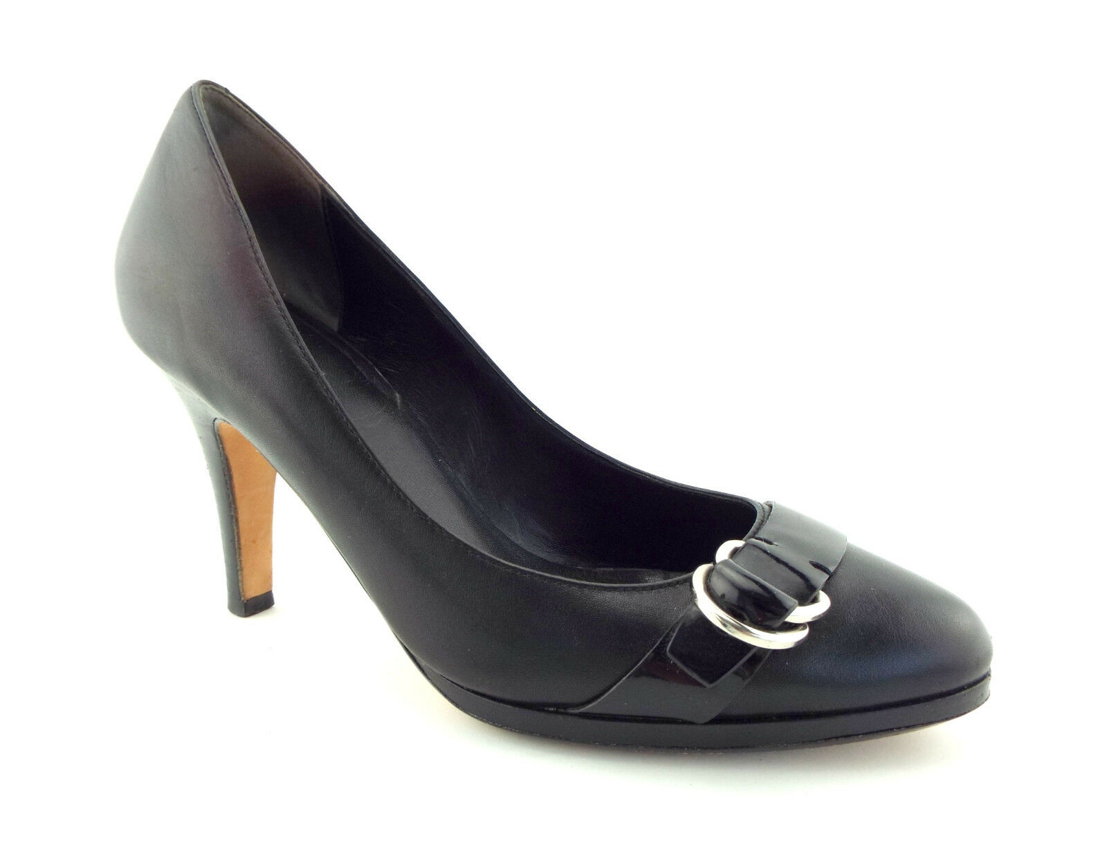 COLE HAAN Size 8.5 Black Leather Almond Toe Air Pumps Heels Shoes 8 1/2