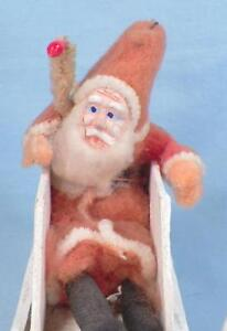 Santa-Claus-amp-Sleigh-Tree-Christmas-Decoration-Cotton-Cardboard-Japan-Vintage-2