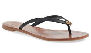 995337933f0054 NIB TORY BURCH Terra Flip Flop Leather Flat Thong Sandal US 10 Black ...