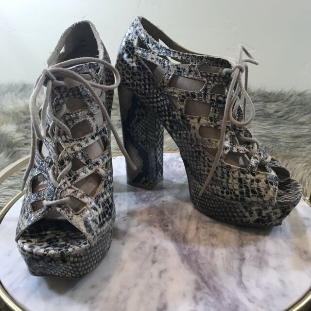 798f6e8baaf MIA Sz 9.5 M Black   Tan Snake Skin Platform Lace Up Block Heels Dress Pumps