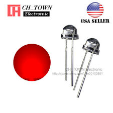 100pcs 5mm Straw Hat Red Light Wide Angle Transparent Led Emitting Diodes Usa