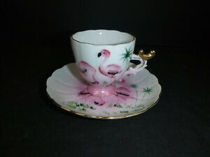 Vtg-Occupied-Japan-Souvenir-Cup-Saucer-Hand-Painted-Flamingos-Florida-Ohashi