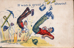 Miners-Flying-Through-Air-It-Was-a-Great-Blowout-Explosion-Vintage-Postcard