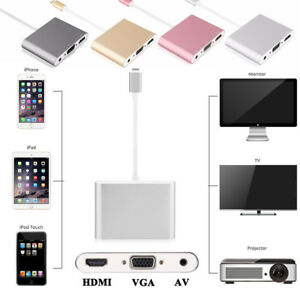 Details about Lightning to HDMI / VGA / AV Digital Adapter For iPhone 8  iPad Monitor Projector