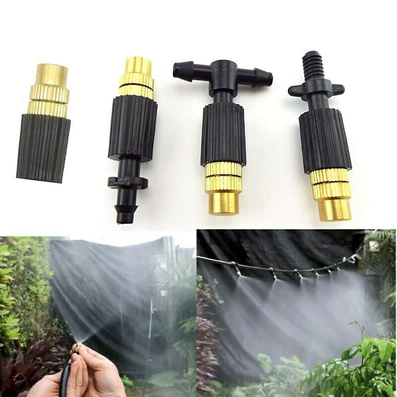 5pcs Micro Drip Irrigation watering Misting Brass Spray Nozzle with Connectors