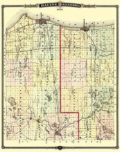 Old County Map Racine Kenosha Wisconsin Landowner Snyder 1878