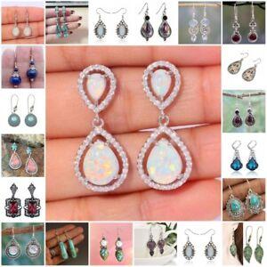 Wholesale-Women-Opal-Ruby-Topaz-Moonstone-Ear-Stud-Hook-Dangle-Earrings-Jewelry