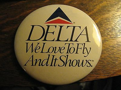 Delta Airlines Vintage 1980's We Love To Fly And It Shows Large Lapel Jacket Pin