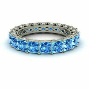4.40 Ct Real Diamond Blue Topaz Eternity Bands 950 Platinum Rings Size M N I P O