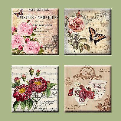 "4.25/"" #2 Post Caed Vintage  Illustration Tile Ceramic Coasters Set of 4"