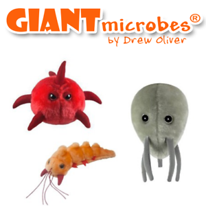 Giant Microbes Set of 3 Plague Inc  Neurax Worm, Nano-Virus and Bio-Weapon Plush