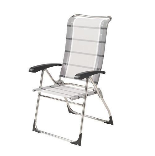 Dukdalf Aspen Folding Caravan Chair Grey Stripe 2018 Model - 8 Position Recline