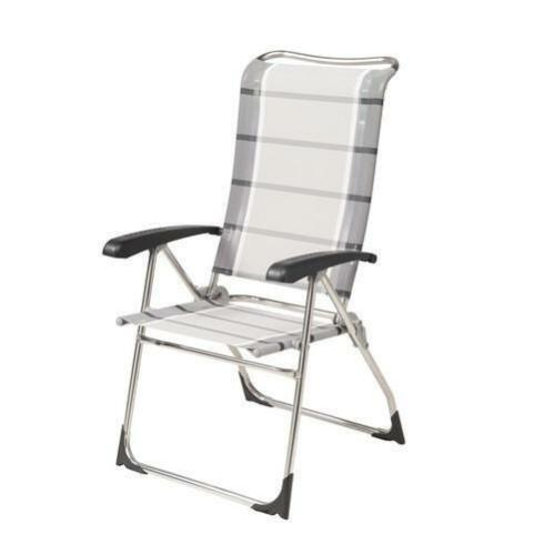 8 Position Recline Dukdalf Aspen Folding Caravan Chair Grey Stripe 2018 Model