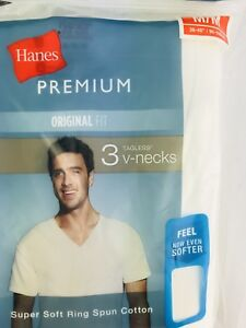c4de13b3b2bd 3 PACK Hanes Premium Tagless V-Neck WHITE T-Shirts Mens MEDIUM 38 ...