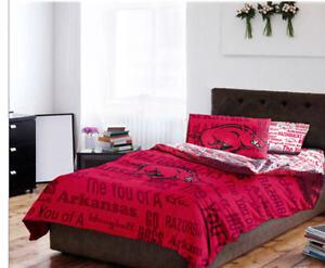 Arkansas Razorbacks NCAA TWIN Comforter & Sheets, 4 Piece Bedding, NEW!