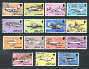 -------Gibraltar 1982 Aircraft 15v complete to £5 unmounted mint (2020/12/11#06
