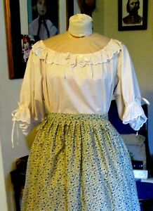 CIVIL WAR DRESS BLOUSE~COLONIA<wbr/>L LADY'S IVORY 100% COTTON EYELET TRIMMED REG SIZE