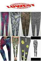 New Women's Girl's Army Camouflage Leopard and Various Print Leggings Sizes 8-16