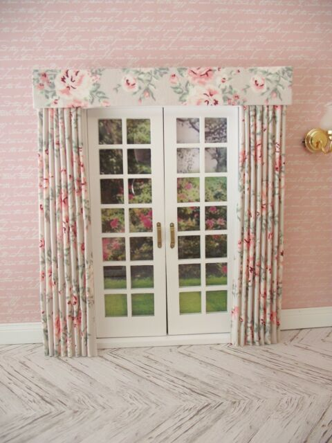 MINIATURE DOLL HOUSE  FURNISHING CURTAINS DRAPES FOR FRENCH DOORS 7 IN WIDE