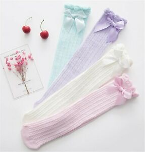 Girls-Kids-Baby-Ruffle-Bow-Stripe-knees-Calf-High-Cotton-long-Socks-Tights