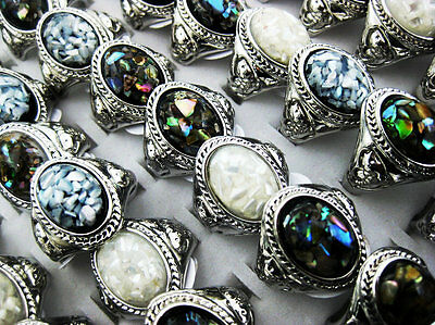 New 10pcs Mix Style Fashion Shell Rings Free Shipping Wholesale Jewelry Lots J74