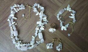 Parure-collier-bracelet-clips-bague-quartz-rose