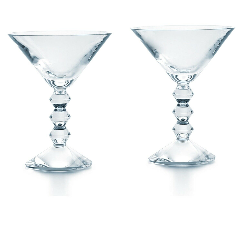 Baccarat Cystal Vega Martini Verre-Transparent-Lot de 2 new in rouge BOX