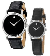 Movado Museum Black Dial Steel Black Leather Mens & Womens Watch 2100002 2100004