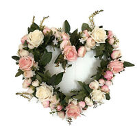 Classic Simulation Flowers Pink Rose Heart-shaped Garland For Lintel Decor 35cm